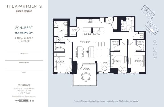 Lincoln Common Chicago Schubert 3 Bedroom South Floor Plan Orientation