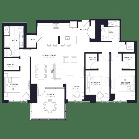 Lincoln Common Schubert Three Bedroom Floor Plan South Tower