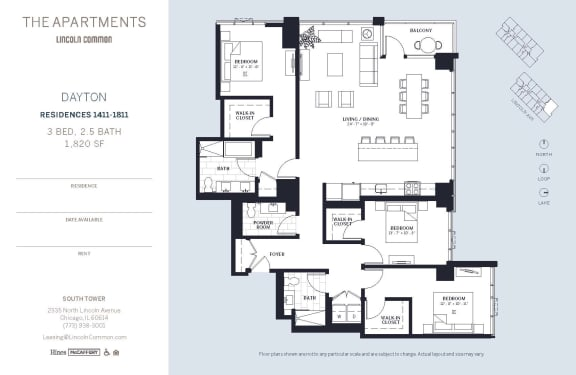 Lincoln Common Chicago Dayton 3 Bedroom 1820sf South Floor Plan Orientation