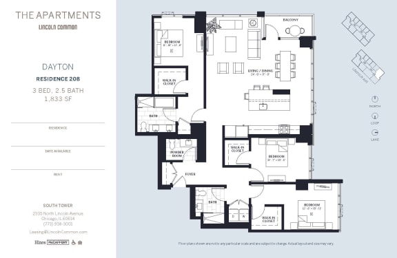 Lincoln Common Chicago Dayton 3 Bedroom 1833sf South Floor Plan Orientation