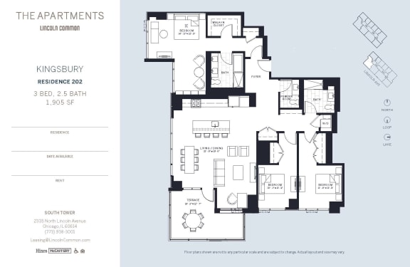 Lincoln Common Chicago Kingsbury 3 Bedroom South Floor Plan Orientation