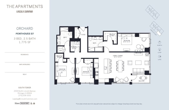 Lincoln Common Chicago Orchard 3 Bedroom South Floor Plan Orientation