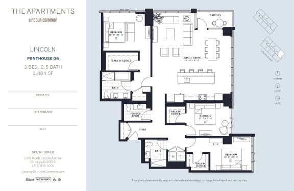 Lincoln Common Chicago Lincoln 3 Bedroom South Floor Plan Orientation