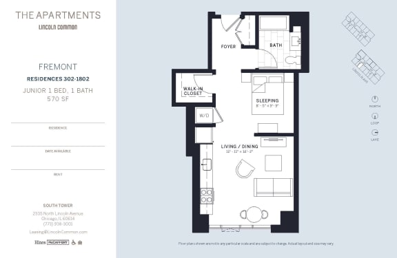 Lincoln Common Chicago Fremont Junior 1 Bedroom South Floor Plan Orientation