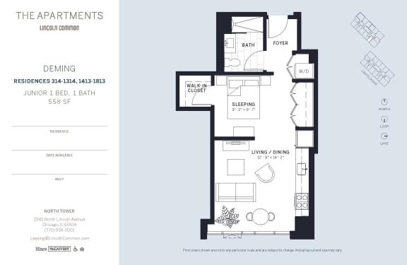 Lincoln Common Chicago Deming Junior 1 Bedroom North Floor Plan Orientation