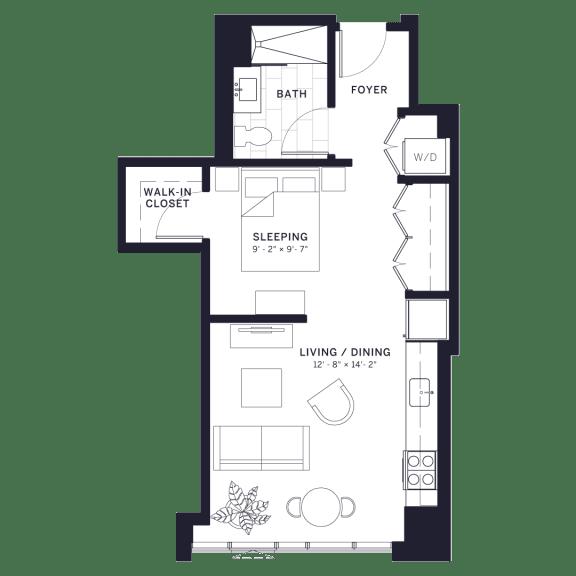 Lincoln Common Deming Junior One Bedroom Floor Plan