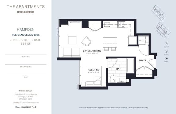 Lincoln Common Chicago Hampton Junior 1 Bedroom North Floor Plan Orientation