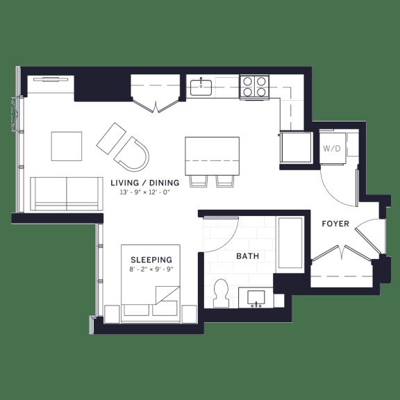 Lincoln Common Hampden Junior One Bedroom Floor Plan