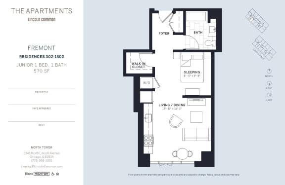 Lincoln Common Chicago Fremont Junior 1 Bedroom North Floor Plan Orientation