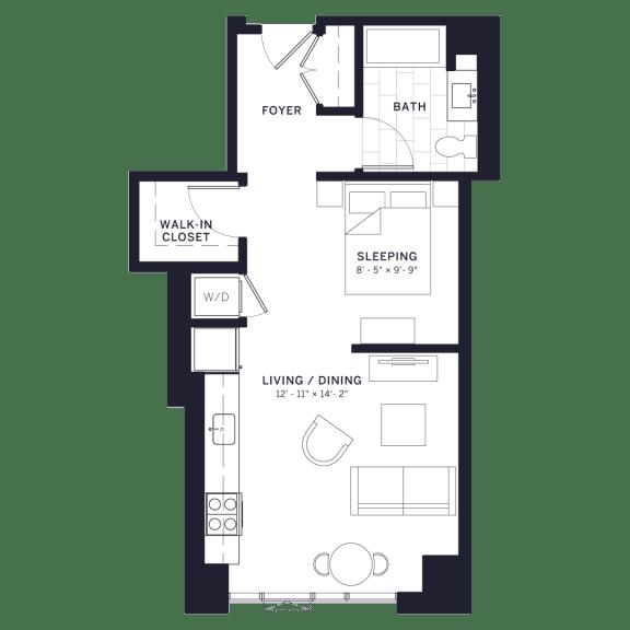 Lincoln Common Fremont Junior One Bedroom Floor Plan