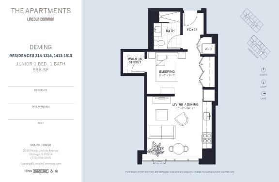 Lincoln Common Chicago Deming Junior 1 Bedroom South Floor Plan Orientation