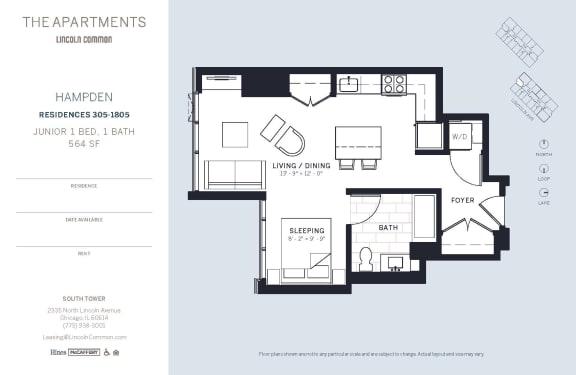 Lincoln Common Chicago Hampton Junior 1 Bedroom South Floor Plan Orientation