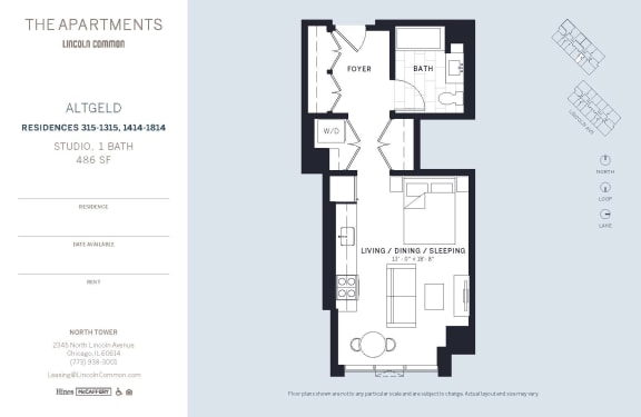 Lincoln Common Chicago Altgeld Studio North Floor Plan Orientation