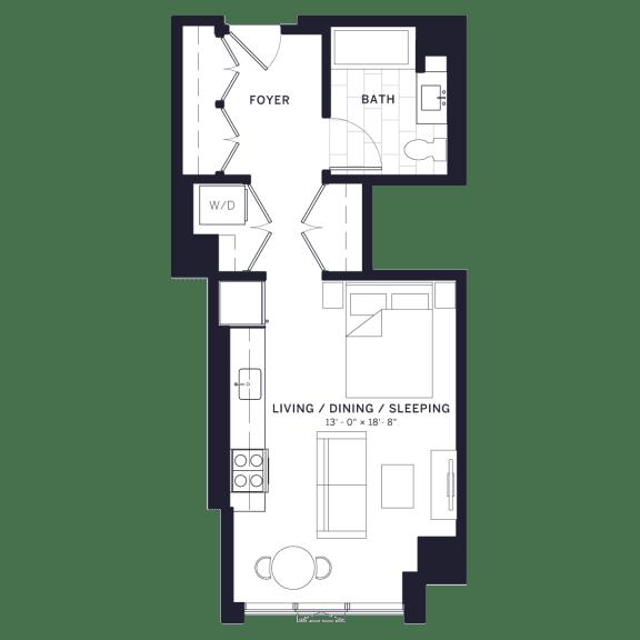 Lincoln Common Studio Affordable Floor Plan
