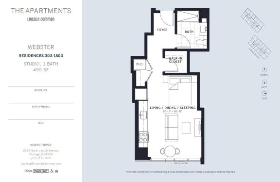 Lincoln Common Chicago Webster Studio North Floor Plan Orientation