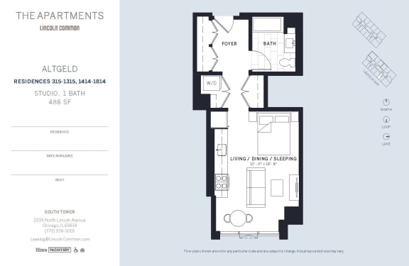 Lincoln Common Chicago Altgeld Studio South Floor Plan Orientation