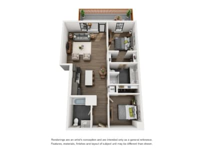 Couch9 Apartments 2 Bed A Floor Plan
