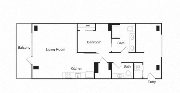 Floor Plan  Couch9 Apartments 1B 1B Floor Plan