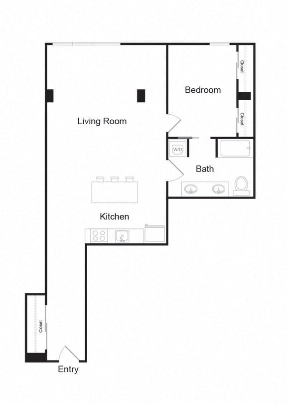 Floor Plan  Couch9 Apartments 934 sqft Floor Plan