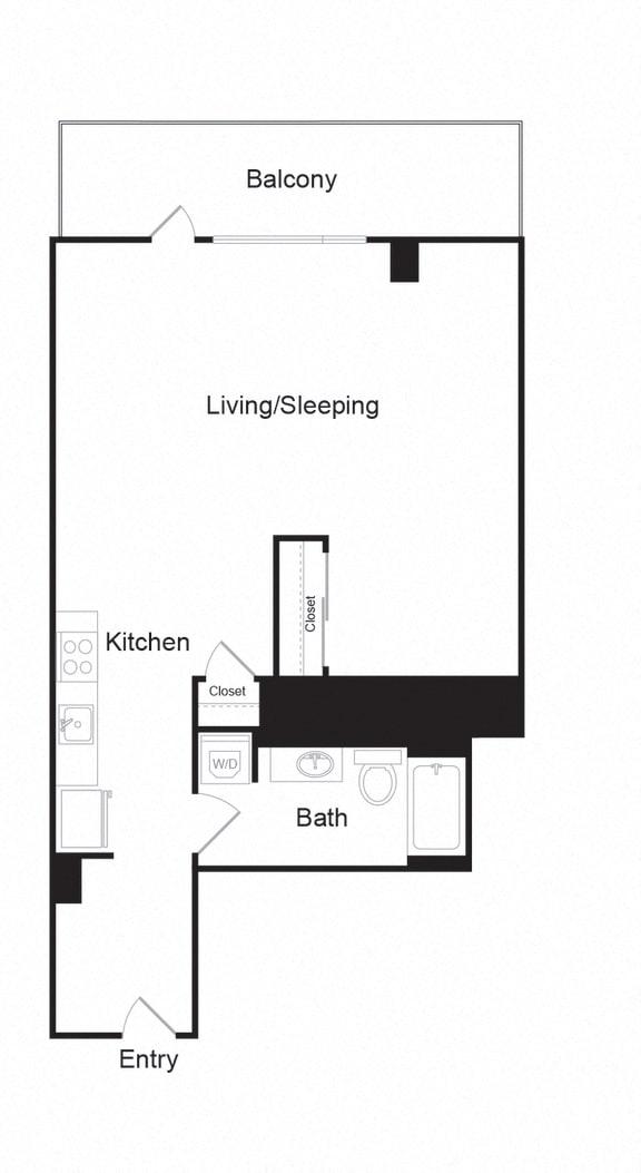 Floor Plan  Couch9FP_E_Studio1b_776sf