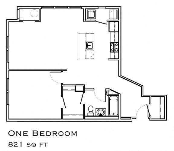 One Bedroom Renovated Floorplan
