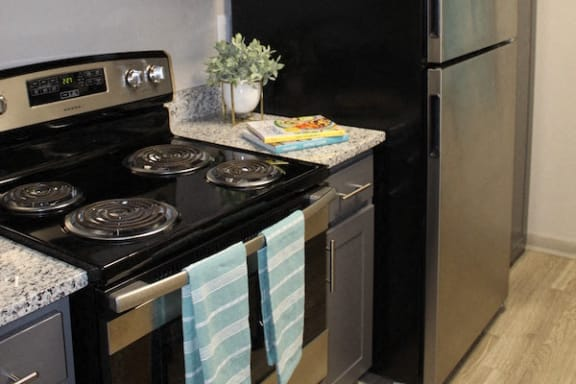stainless steel oven and fridge with decor items at The VUE at Crestwood Apartments, Birmingham, Alabama