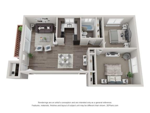 Floor Plan  3D Two-Bedroom Apartment Floor Plan at Westmont Village, Westmont