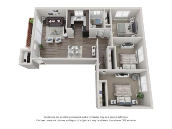 3D Three Bedroom Floor Plan at Westmont Village, Illinois