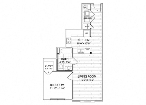 Floor Plan  Crest   1 Bedroom 1 Bath Apartment