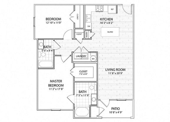 Floor Plan  Palisade | 2 Bedroom 2 Bath Apartment