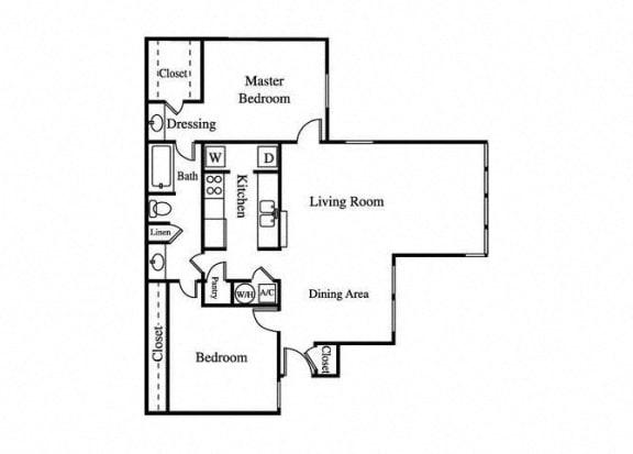 Floor Plan  the jade two bedroom floorplan with large living room