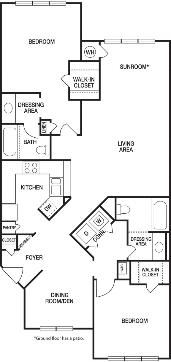 Floor Plan  2 Bedroom 2 Bath Renovated