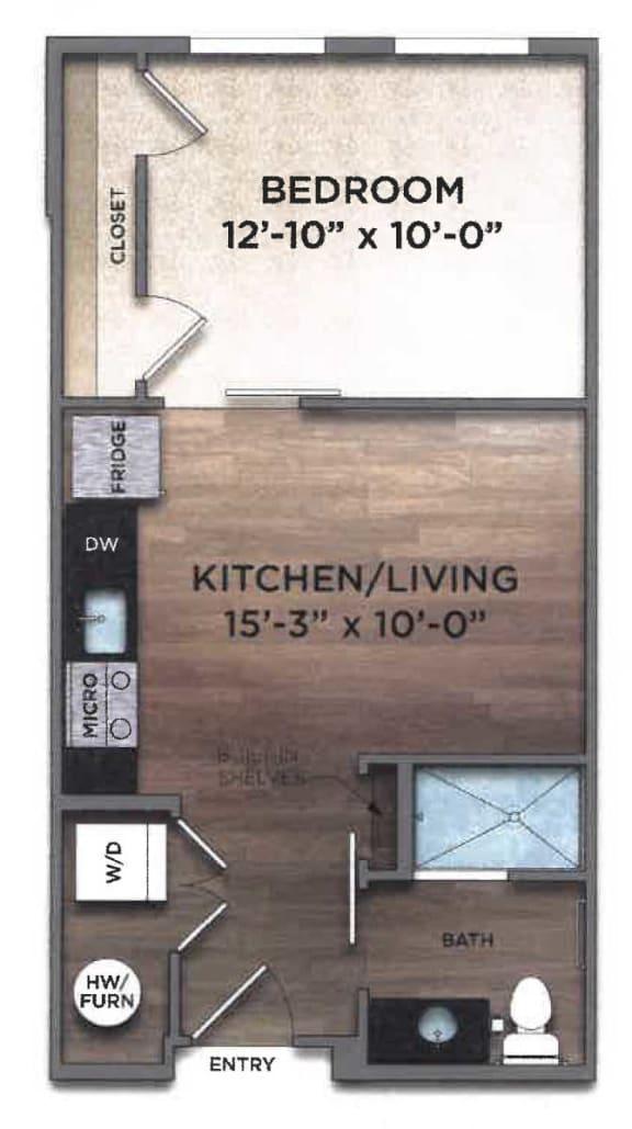 Studio Floorplan for The Nicholas
