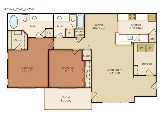 Biltmore 2 Bedroom 2 Bath Floorplan at Crestmark Apartment Homes, Georgia
