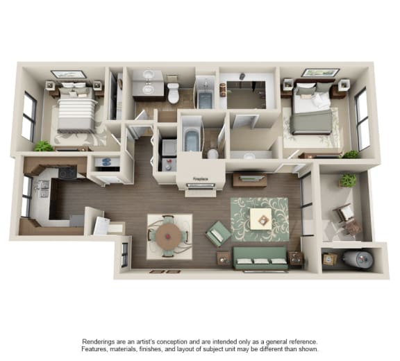 2x2 2A Floor Plan at Sonoran Apartment Homes, Phoenix, AZ, 85044