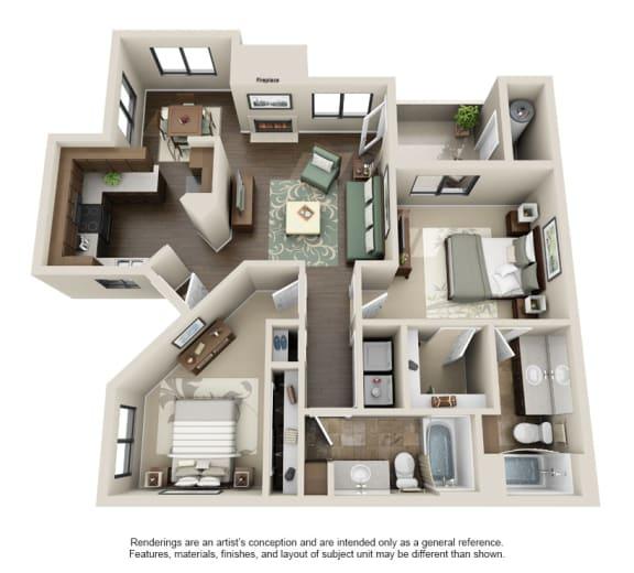 2B-2x2 Floor Plan at Sonoran Apartment Homes, Phoenix, AZ, 85044