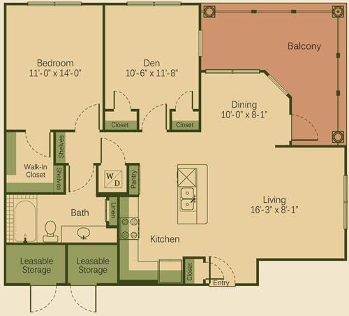 1AD Floor Plan at Muir Lake, Cedar Park