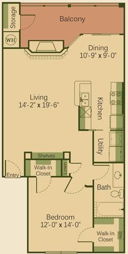1B Floor Plan at Muir Lake, Cedar Park, TX