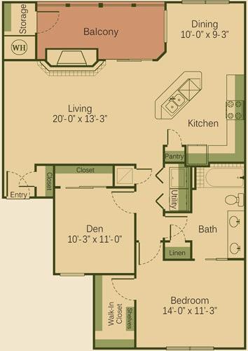 1BD Floor Plan at Muir Lake, Cedar Park, TX, 78613