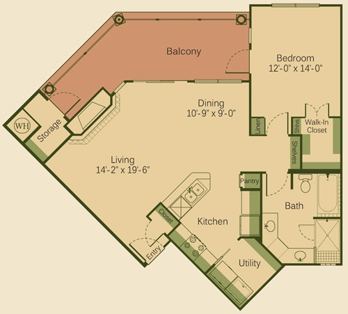 1C Floor Plan at Muir Lake, Cedar Park, Texas