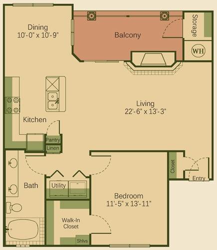 1D Floor Plan at Muir Lake, Cedar Park, TX, 78613