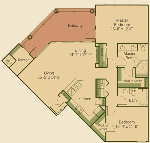 2B Floor Plan at Muir Lake, Cedar Park, TX