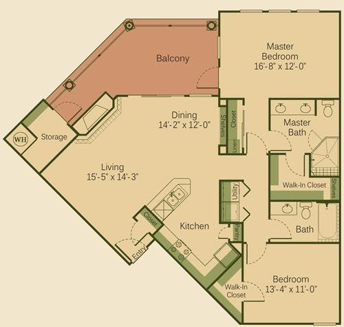 2B Floor Plan at Muir Lake, Cedar Park, 78613