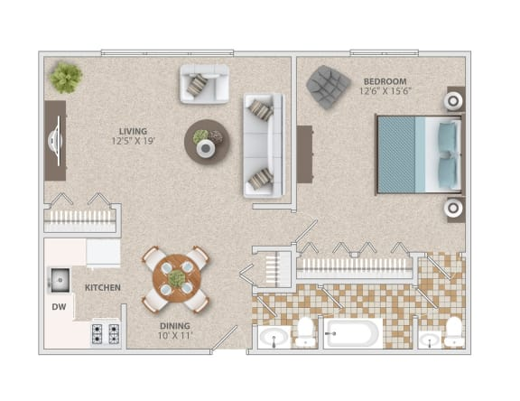 One bedroom one and a half bath apartment home at Broadfalls