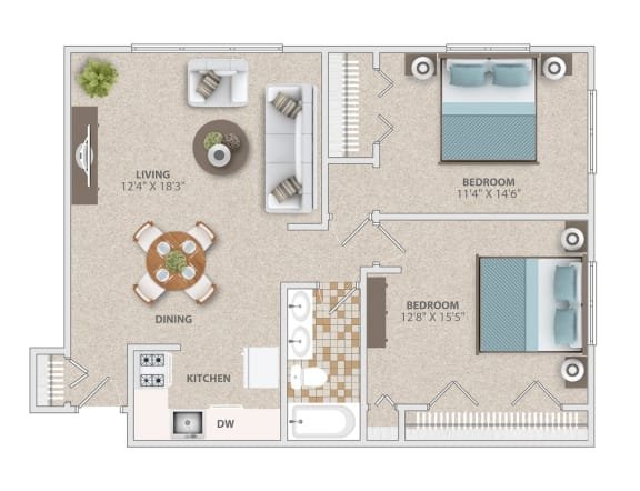 Two bedroom apartment home at Broadfalls
