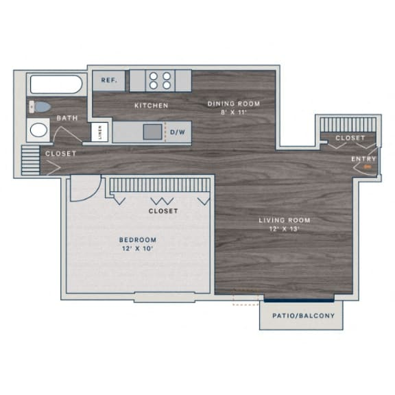Floor Plan  1 Bed 1 Bath A Floor Plan at The Clayson, Palatine, Illinois