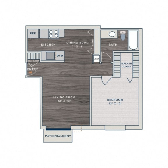 Floor Plan  1 Bed 1 Bath A1 Floor Plan at The Clayson, Palatine