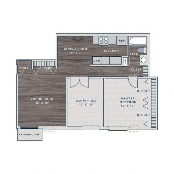 Floor Plan  1 Bed 1 Bath A2 Floor Plan at The Clayson, Illinois