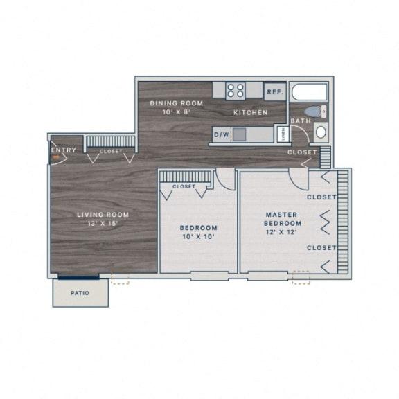 Floor Plan  2 Bed 1 Bath B Floor Plan at The Clayson, Illinois, 60067