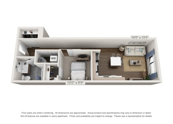 one bedroom apartment layout in denver